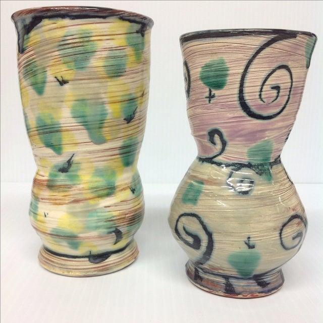 Gregory Zeorlin Pastel Studio Pottery Vases - Pair - Image 3 of 4