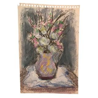 1940s Vintage Pastel Floral Still Life Drawing For Sale