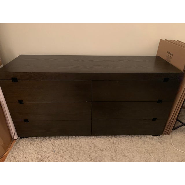 2010s West Elm Chocolate Square Cutout 6 Drawer Dresser For Sale - Image 5 of 6