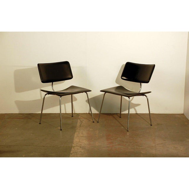 1970s Slender Italian Stitched Leather Lounge Chairs - a Pair For Sale - Image 10 of 10