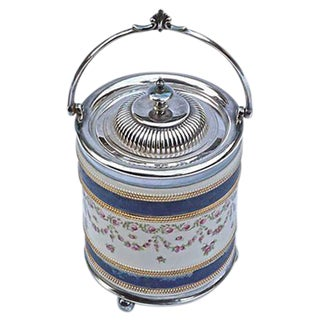 Antique English Ceramic & Silver Biscuit Jar For Sale