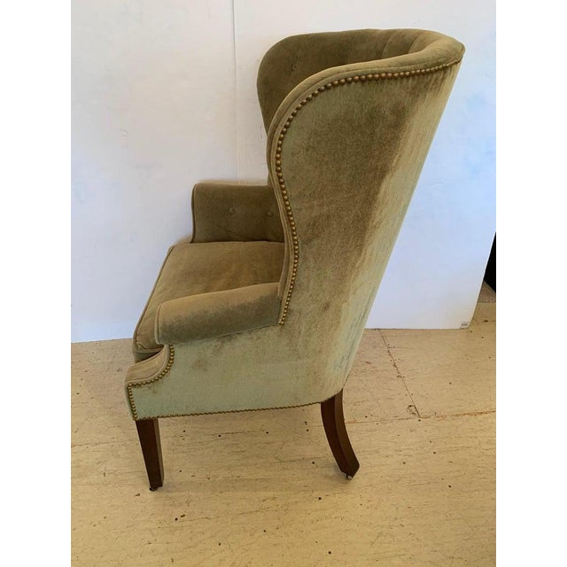 1940s Vintage Tufted Sage Green Velvet Barrel Back Wing Chair For Sale - Image 5 of 12