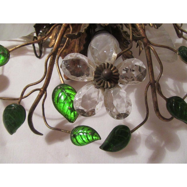 Crystal C. 1950's Mid Century Authentic French Maison Bagues Ceiling Mount Light Fixture For Sale - Image 7 of 13