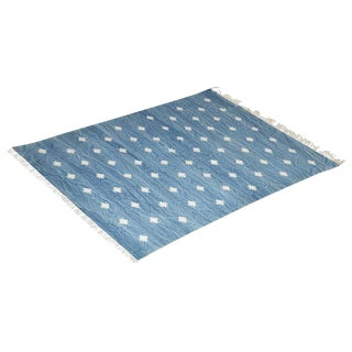 Iris Rug, 8x10, Blue & White For Sale