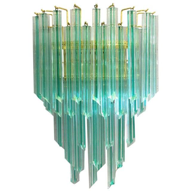Murano, Venini & Co. Venini Aquamarine Murano Glass Quadriedri Sconce For Sale - Image 4 of 6