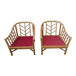McGuire Rattan A-25 Lounge Chairs - a Pair For Sale