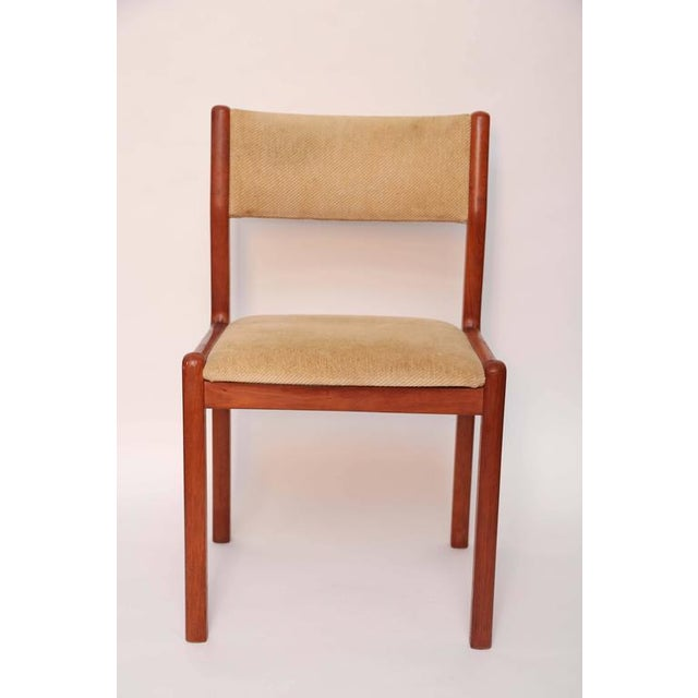 Original condition, as found, teak dining chairs by Moller.