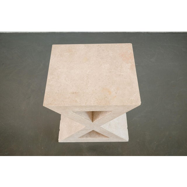 Late 20th Century Modern 'X' Travertine Side Table For Sale - Image 5 of 7