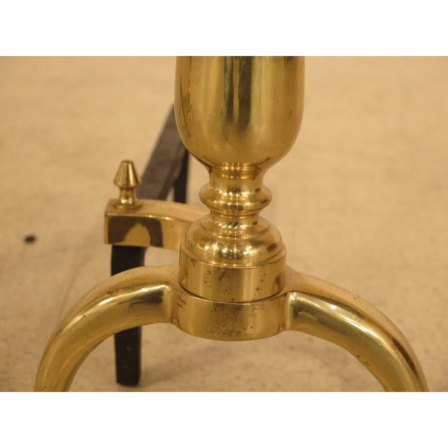Gold Federal Style Brass Fireplace Andirons - a Pair For Sale - Image 8 of 10