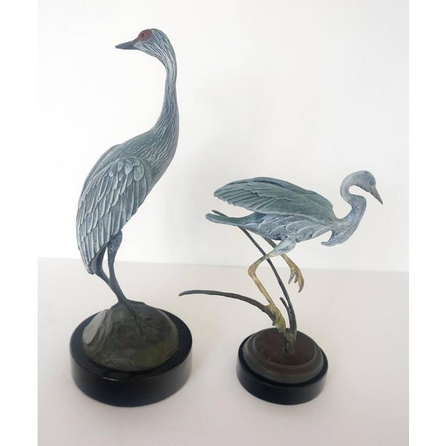 Set of Two Patinated Bronzes by Geoffry C. Smith of a Sandhill Crane & Heron - Image 9 of 10