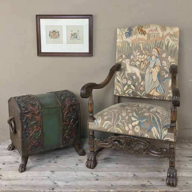 French 19th Century French Louis XIII Armchair With Tapestry For Sale - Image 3 of 12