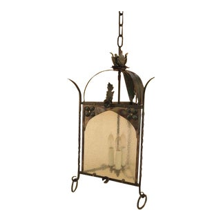 Wrought Iron & Antiqued Glass Hanging Chandelier Light Fixture For Sale