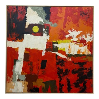 1970s Abstract Oil Painting Signed by Lee Reynolds For Sale