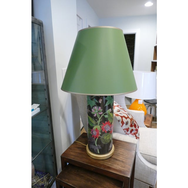 Decoupage Flower Lamp With Green Painted Shade For Sale - Image 12 of 12