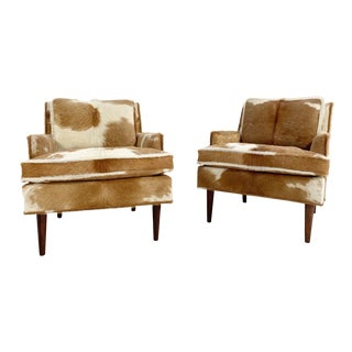 Flair Inc. Lounge Chairs Restored in Brazilian Cowhide - Pair For Sale