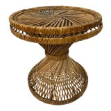 Image of 1960s Boho Chic Rattan Wicker HourGlass Side Table For Sale