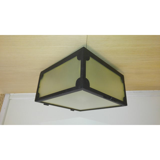 Metal Reborn Lighting Custom Black Iron Finish & Frosted Glass Square Flush Mount Fixture For Sale - Image 7 of 7