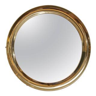 Italian Brass Port Hole Mirror For Sale