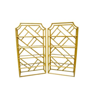 Vintage Mid CenturyTiki Hollywood Regency Bamboo Rattan Etagere- a Pair For Sale