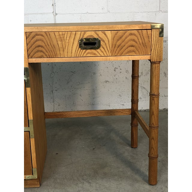 Campaign 1970s Dixie Oak Wood Campaign & Bamboo Style Desk For Sale - Image 3 of 10