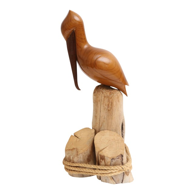 Vintage Teak Carved Wood Pelican For Sale