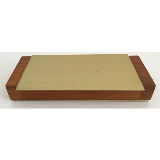 Mid-Century Modern Gold Aluminum and Wood Box - Image 3 of 11