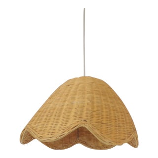 Vintage Scalloped Wave Rattan Pendant For Sale