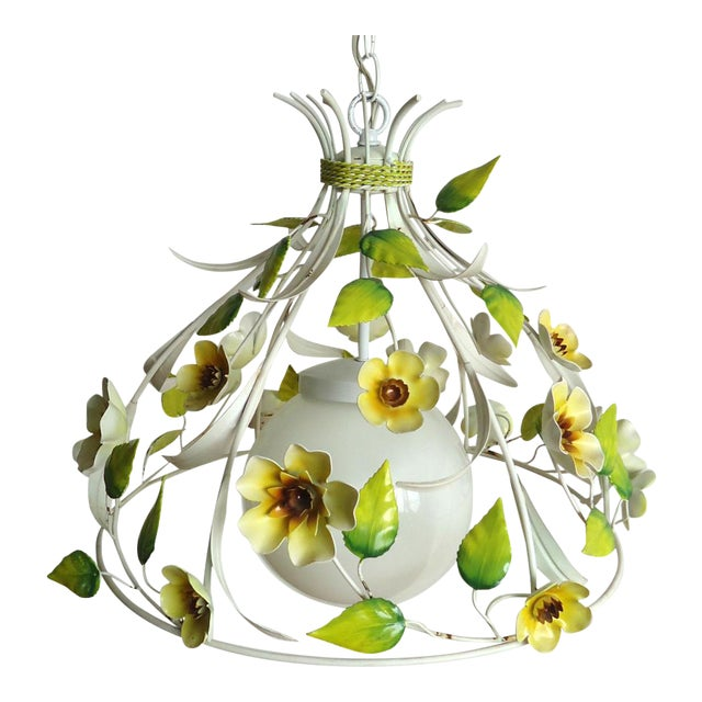 Mid-Century Italian Tole Light Fixture with Yellow Flowers - Image 1 of 6