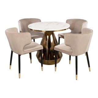 Gigi Marble Top Bistro Table & Gray Chairs - Set of 5 For Sale