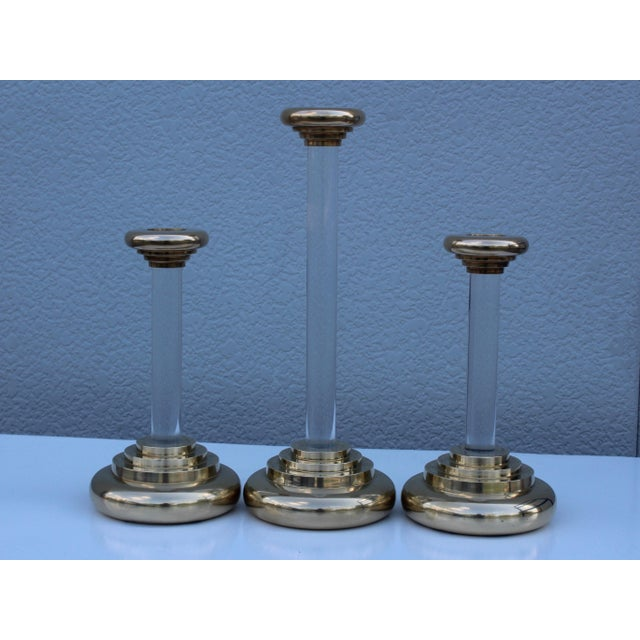1980s 1980s Lucite and Brass Large Candleholders For Sale - Image 5 of 13