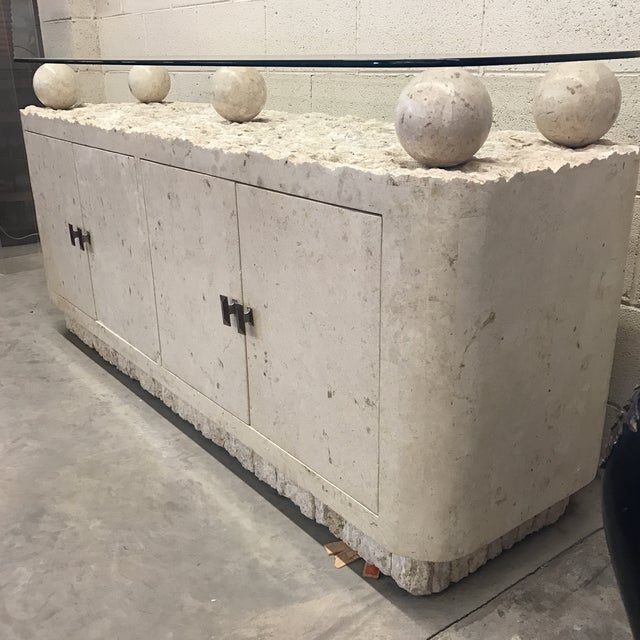 Maitland-Smith Tessellated Stone & Glass Credenza - Image 3 of 11