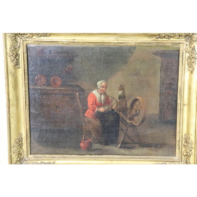 Mid 18th Century 18th Century Flemish Oil Painting on Canvas Woman Who Weaves For Sale - Image 5 of 12