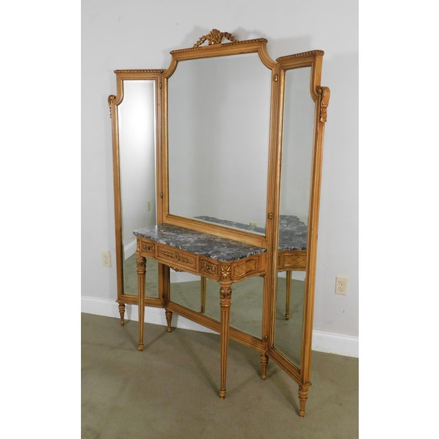 High Quality Louis XVI Style Trifold Mirror with Attached One Drawer Marble Top Dressing Table, Carved Gilt Wood Accents...