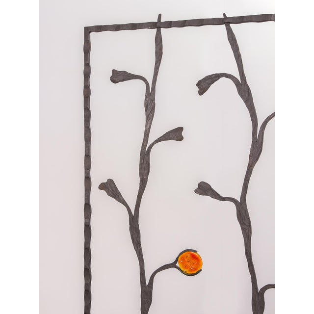Abstract Decorative Mid-Century Modern Artisan Iron Screen For Sale - Image 3 of 9