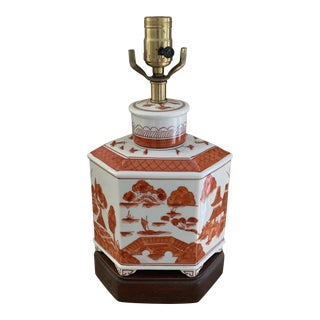 Small Handpainted Chinese Iron Red and White Table Lamp For Sale