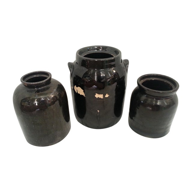 Chocolate Brown Glazed Jars - Set of 3 - Image 1 of 4
