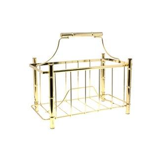 "Brass ""Bamboo"" Pagoda Magazine Rack For Sale"