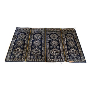 Antique Moroccan Moorish Silk Blue Tapestry Four Panels For Sale