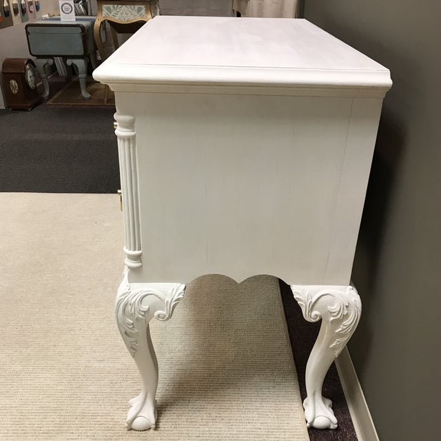 Chippendale lowboy painted with Chalk Paint®️ by Annie Sloan. Newly refurbished hardware with a base coat of old white,...