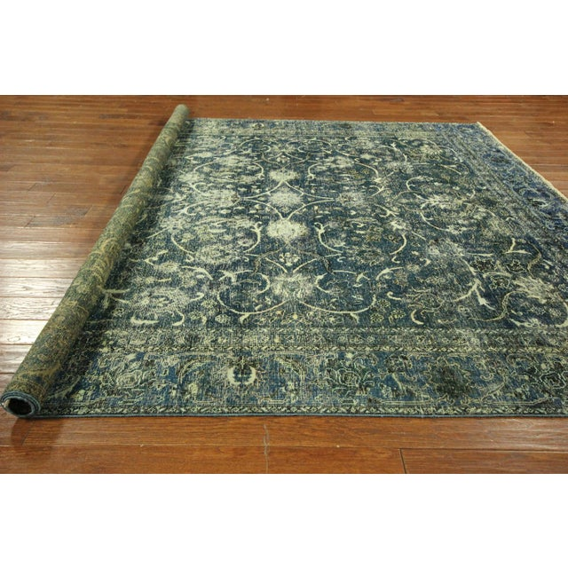 """Oriental Overdyed Tabriz Floral Rug - 9'2"""" x 10'2 - Image 10 of 11"""