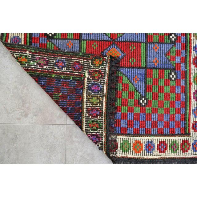 Cotton Turkish Hand Woven Wool Starry Jajim Mini Kilim Rug - 2′6″ X 3′9″ For Sale - Image 7 of 8