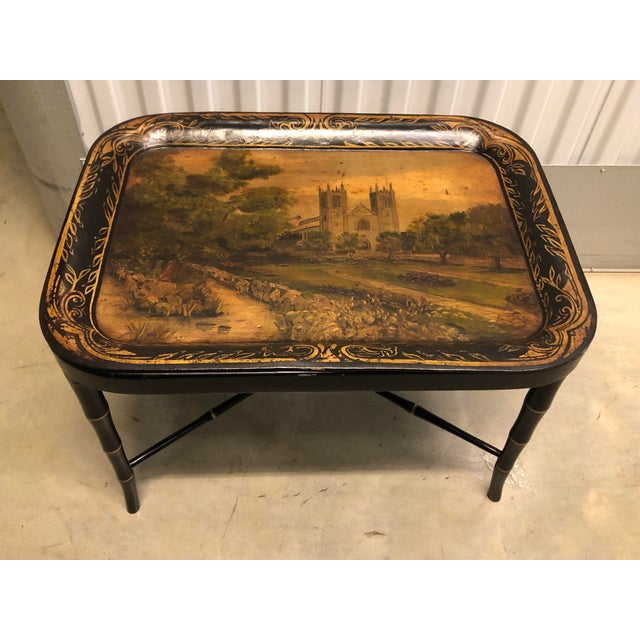 Faux Bamboo Table With Painted Tray For Sale - Image 12 of 12
