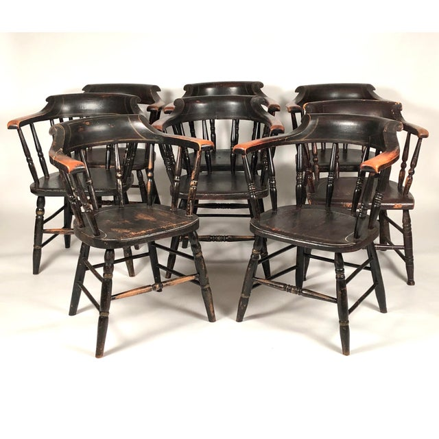 Paint Set of 8 Matched Captain's Dining Chairs For Sale - Image 7 of 13