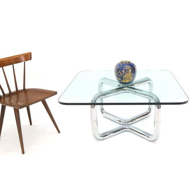 Rounded Corners Square Coffee Table on Thick Bent Tube Chrome Base For Sale - Image 6 of 13