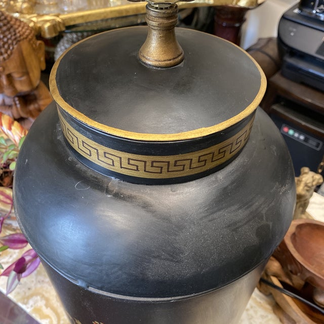 Black Greek Key Tole Table Lamp With Lion Details For Sale - Image 8 of 9