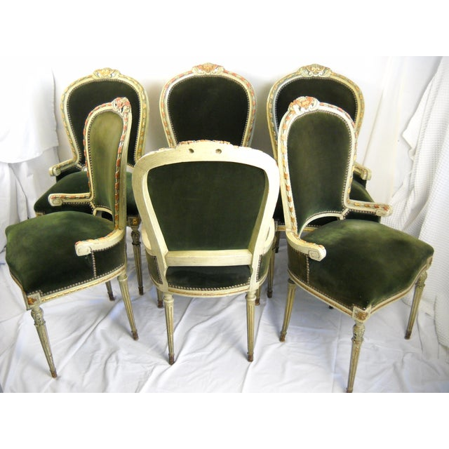 French Painted Gilt Dining Chairs - Set of 6 For Sale - Image 9 of 11