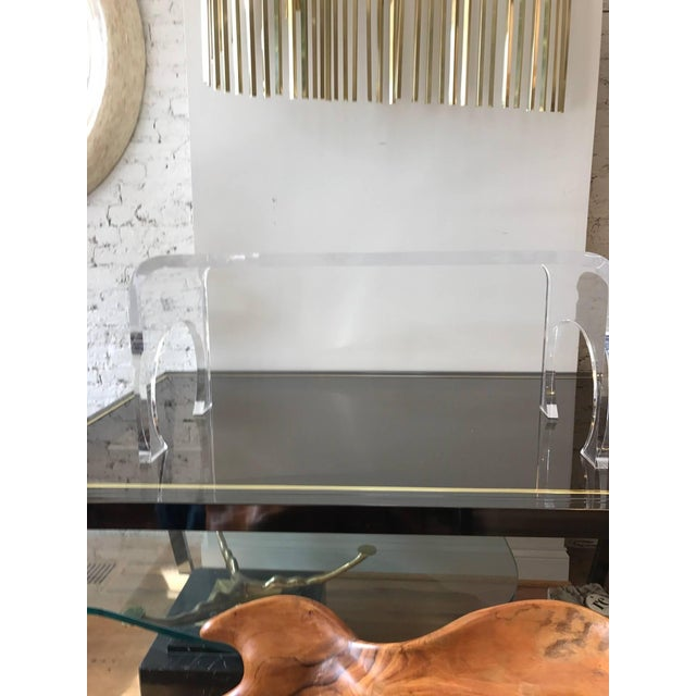 Lucite Charles Hollis Jones style thick waterfall style coffee table.