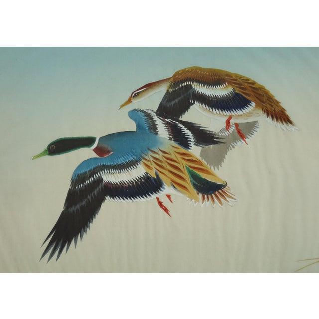Vintage Japanese Ducks Silk Painting - Image 3 of 5