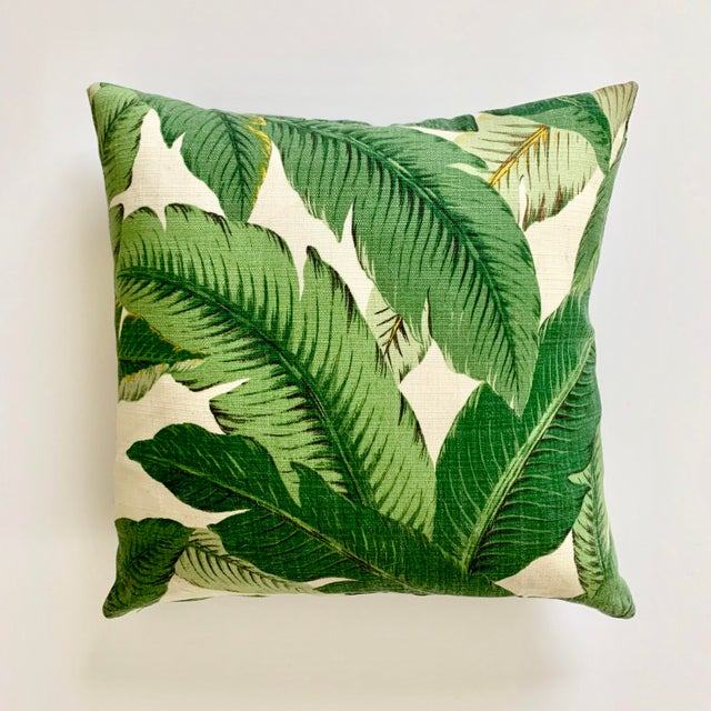 "A 16""x 16"" pillow covered in the iconic banana leaf fern printed linen. Self-backed with knife edge seams, a zipper..."