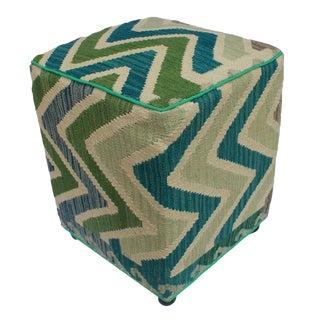 Arshs Delia Ivory/Green Kilim Upholstered Handmade Ottoman For Sale